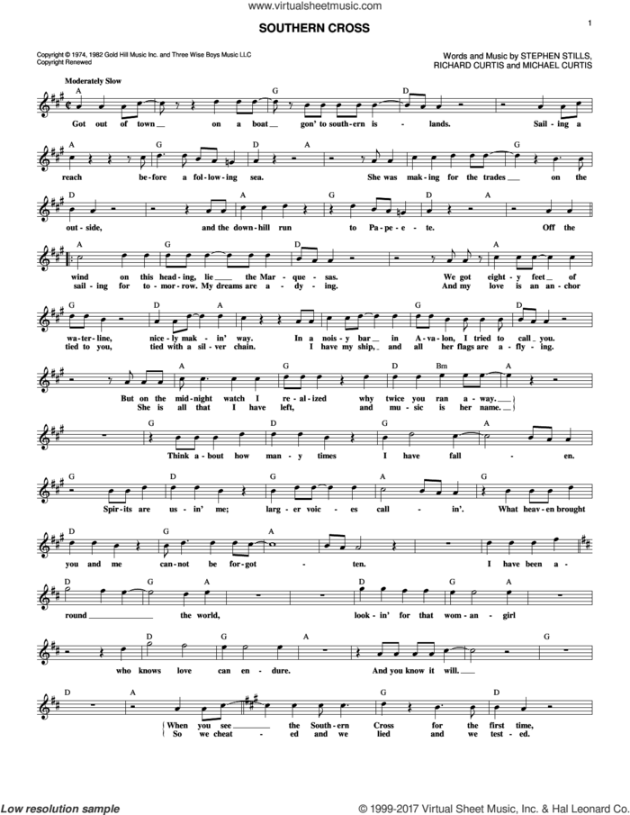 Southern Cross sheet music for voice and other instruments (fake book) by Crosby, Stills & Nash, Michael Curtis, Richard Curtis and Stephen Stills, intermediate skill level