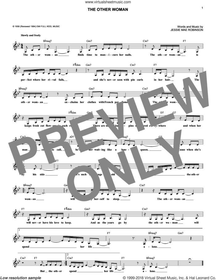 The Other Woman sheet music for voice and other instruments (fake book) by Jessie Mae Robinson, Lana Del Rey, Nina Simone and Ray Parker Jr., intermediate skill level