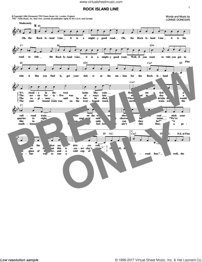 Rock Island Line sheet music for voice and other instruments (fake book) by Lonnie Donegan, intermediate skill level