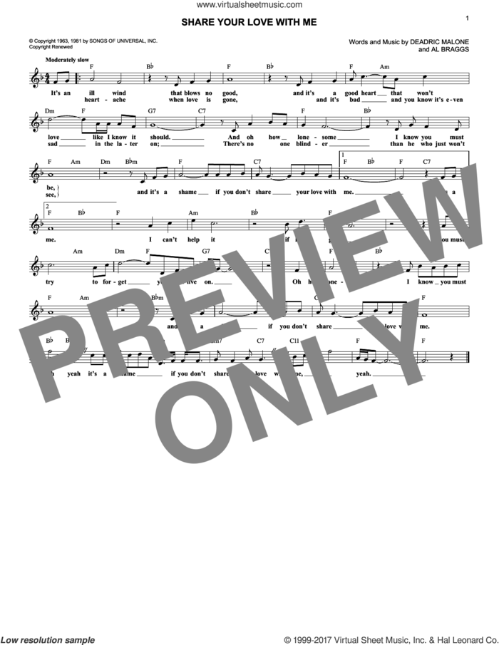 Share Your Love With Me sheet music for voice and other instruments (fake book) by Kenny Rogers, Al Braggs and Deadric Malone, intermediate skill level