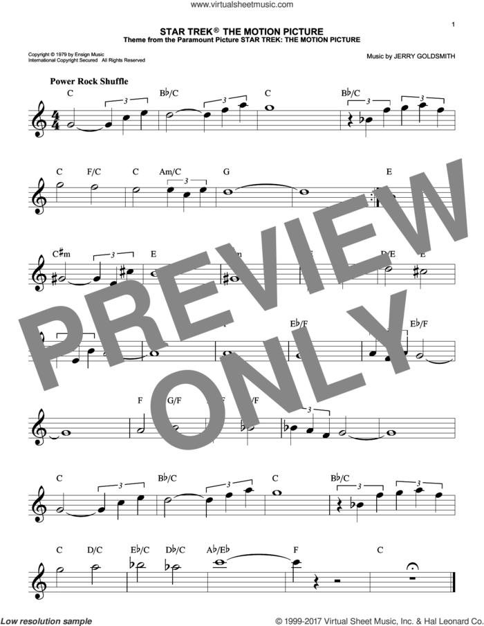 Star Trek The Motion Picture sheet music for voice and other instruments (fake book) by Jerry Goldsmith, intermediate skill level