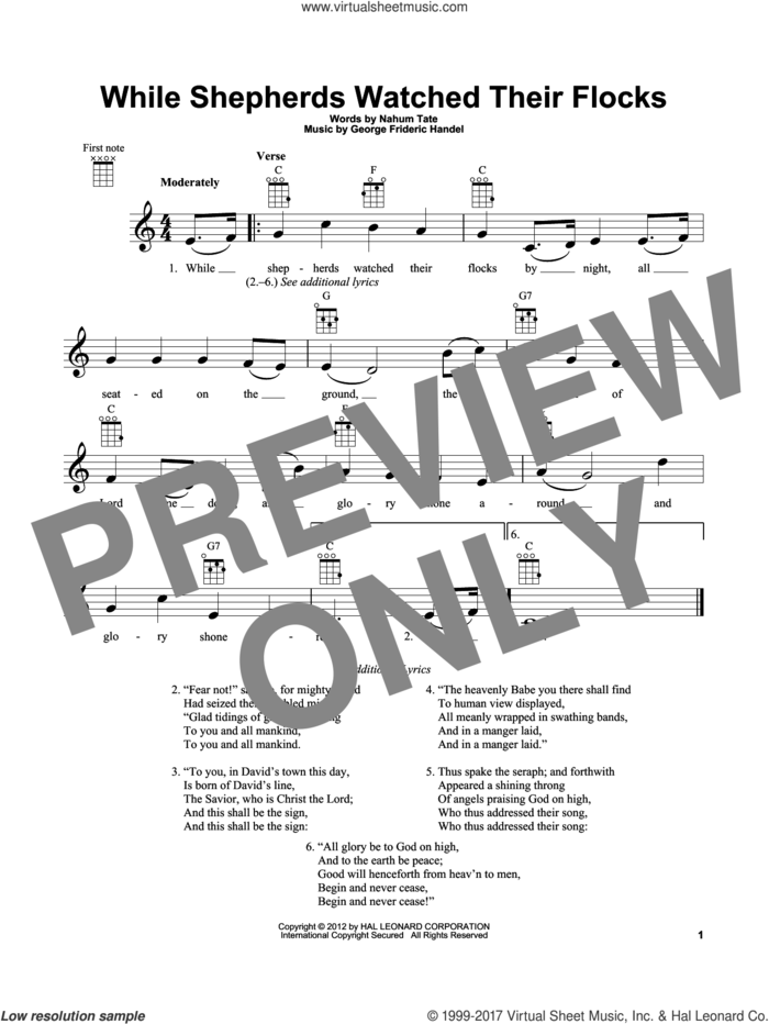 While Shepherds Watched Their Flocks sheet music for ukulele by Nahum Tate and George Frideric Handel, intermediate skill level