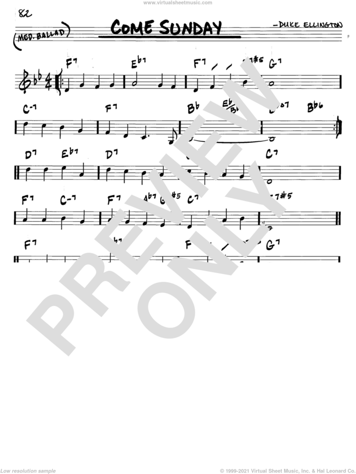 Come Sunday sheet music for voice and other instruments (in C) by Duke Ellington, intermediate skill level