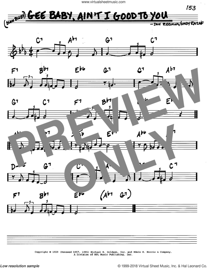 Gee Baby, Ain't I Good To You sheet music for voice and other instruments (in C) by Don Redman and Andy Razaf, intermediate skill level