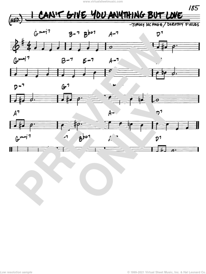 I Can't Give You Anything But Love sheet music for voice and other instruments (in C) by Dorothy Fields and Jimmy McHugh, intermediate skill level