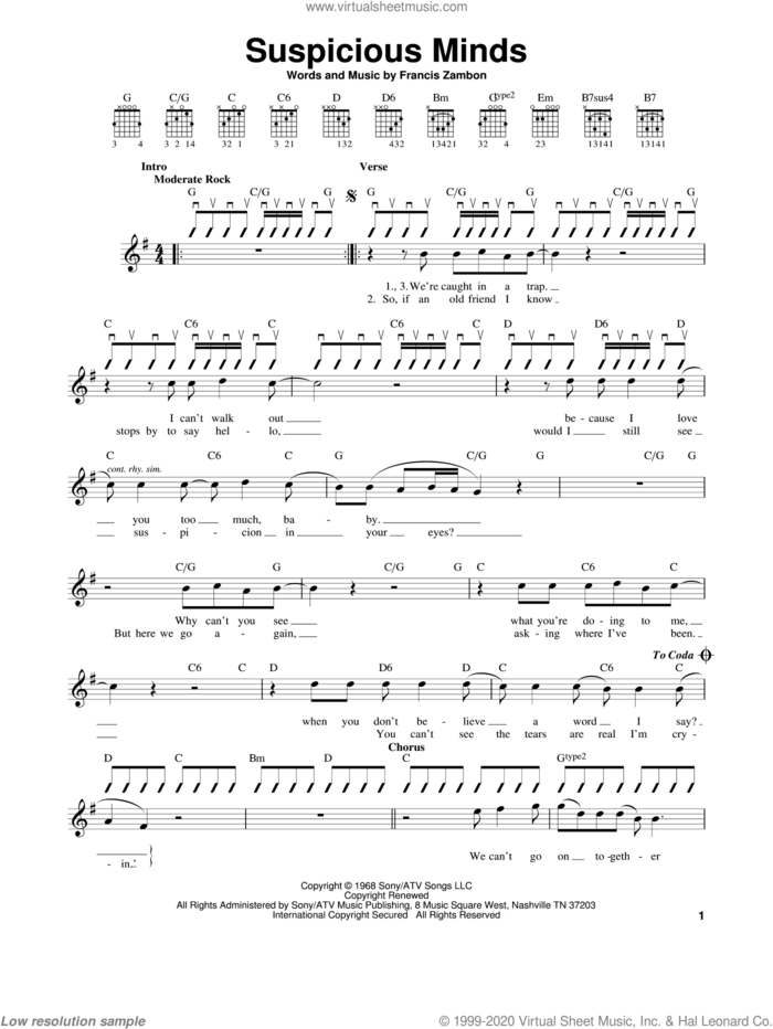 Suspicious Minds sheet music for guitar solo (chords) by Elvis Presley and Francis Zambon, easy guitar (chords)
