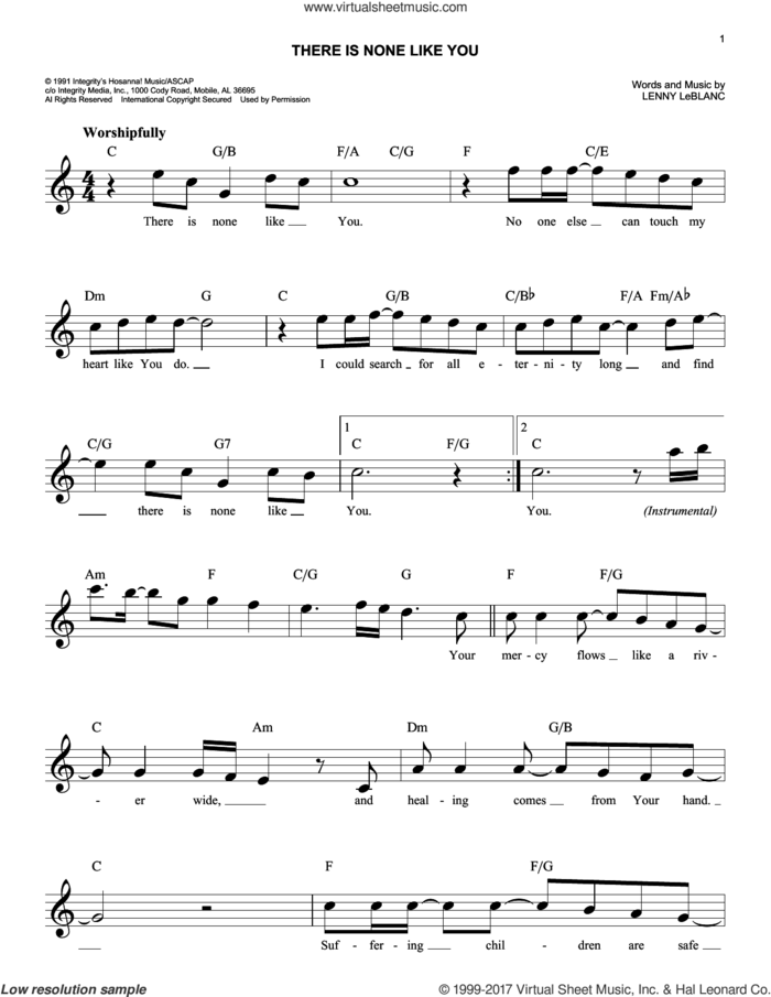 There Is None Like You sheet music for voice and other instruments (fake book) by Lenny LeBlanc, intermediate skill level