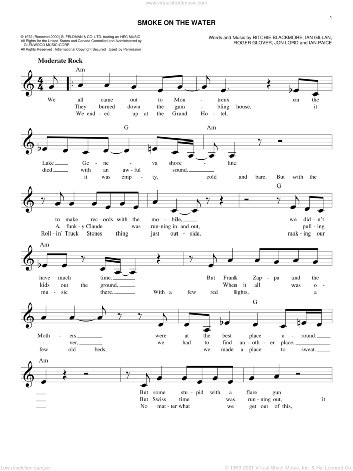 Smoke On The Water sheet music for voice and other instruments (fake book) by Deep Purple, Ian Gillan, Ian Paice, Jon Lord, Ritchie Blackmore and Roger Glover, intermediate skill level