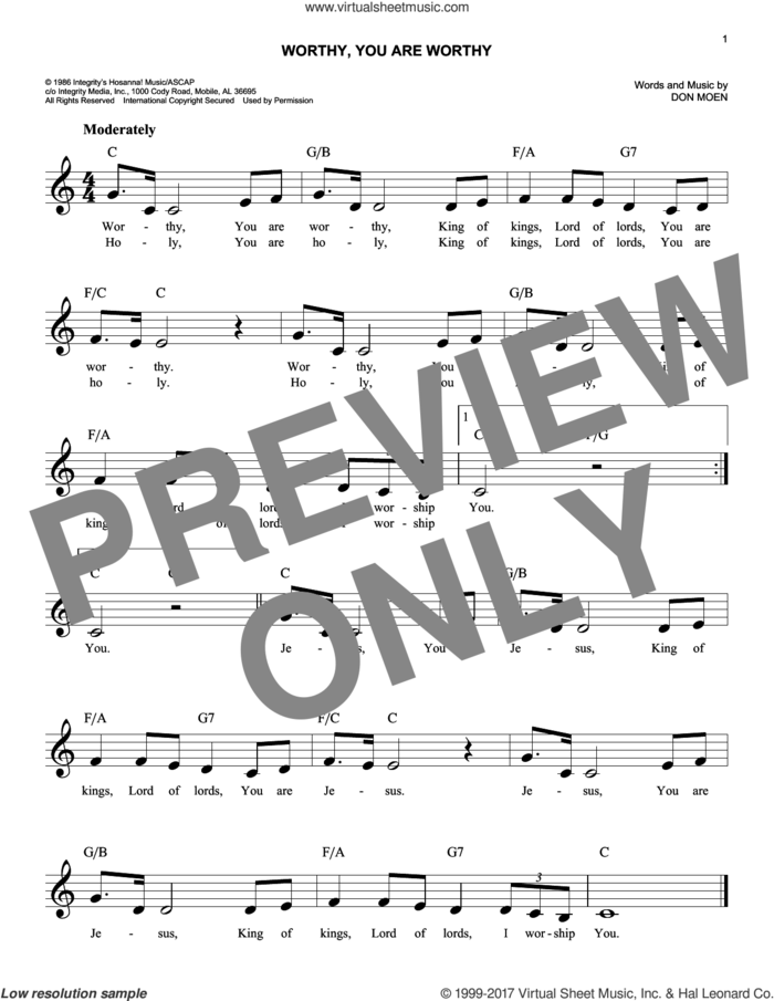 Worthy, You Are Worthy sheet music for voice and other instruments (fake book) by Don Moen, intermediate skill level