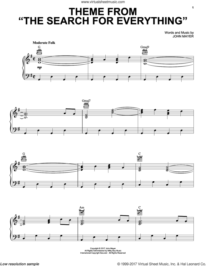 Theme From The Search For Everything sheet music for voice, piano or guitar by John Mayer, intermediate skill level