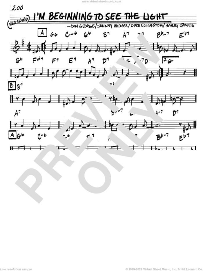 I'm Beginning To See The Light sheet music for voice and other instruments (in C) by Duke Ellington, Don George, Harry James and Johnny Hodges, intermediate skill level