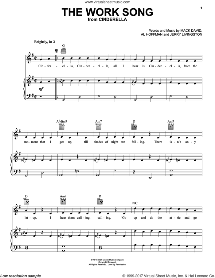 The Work Song (from Disney's Cinderella) sheet music for voice, piano or guitar by Jerry Livingston, Al Hoffman and Mack David, intermediate skill level