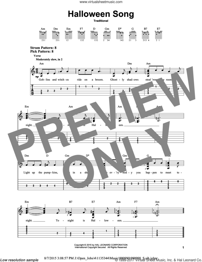 Halloween Song sheet music for guitar solo (easy tablature), easy guitar (easy tablature)