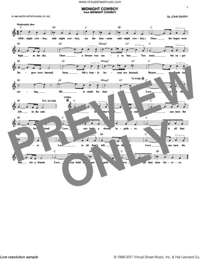 Midnight Cowboy sheet music for voice and other instruments (fake book) by John Barry, intermediate skill level