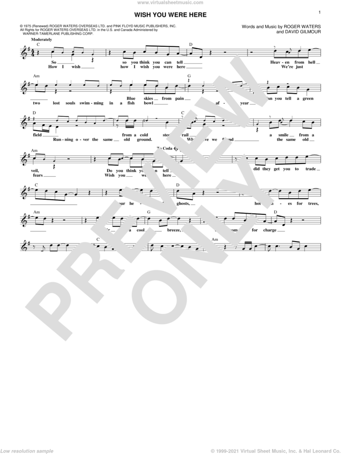 Wish You Were Here sheet music for voice and other instruments (fake book) by Pink Floyd, David Gilmour and Roger Waters, intermediate skill level