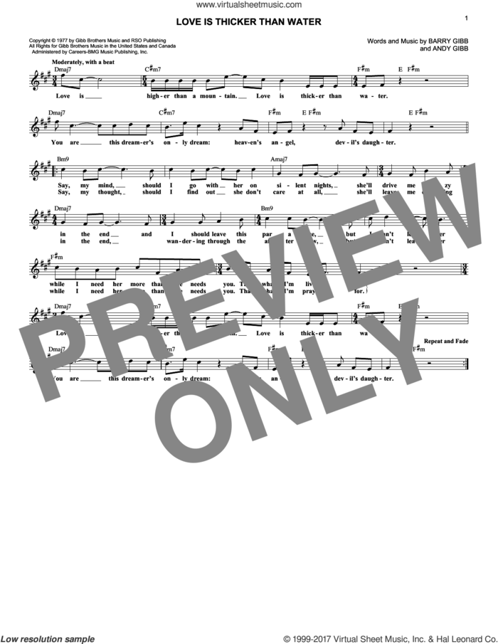 Love Is Thicker Than Water sheet music for voice and other instruments (fake book) by Andy Gibb and Barry Gibb, intermediate skill level