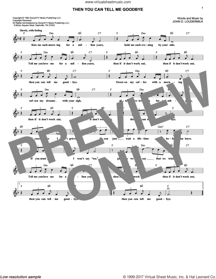 Then You Can Tell Me Goodbye sheet music for voice and other instruments (fake book) by Eddy Arnold, Casinos and John D. Loudermilk, intermediate skill level