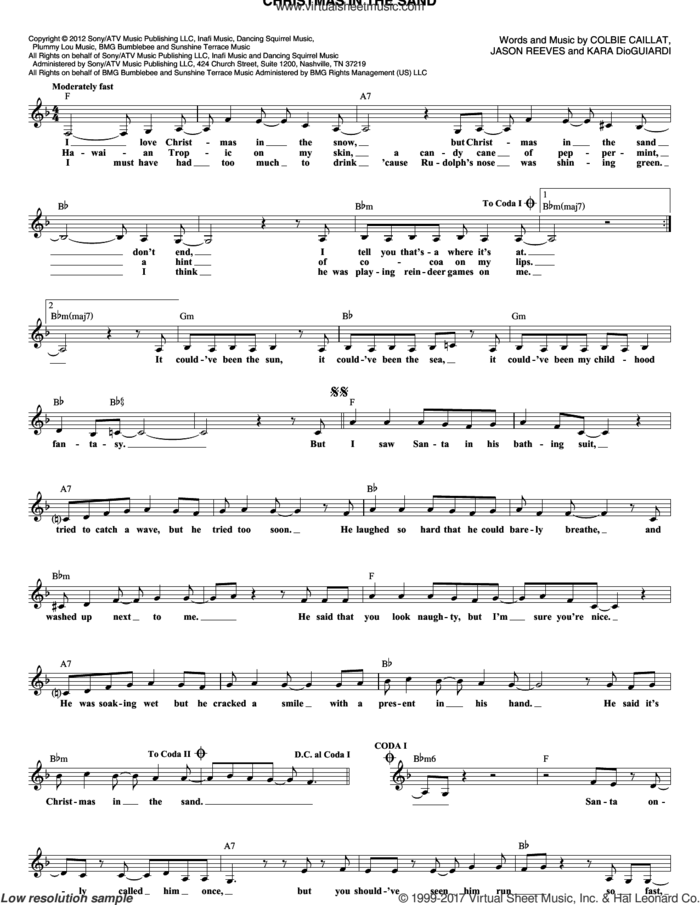 Christmas In The Sand sheet music for voice and other instruments (fake book) by Jason Reeves, Colbie Caillat and Kara DioGuardi, intermediate skill level