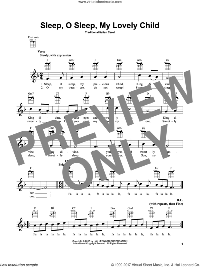 Sleep, O Sleep, My Lovely Child sheet music for ukulele, intermediate skill level