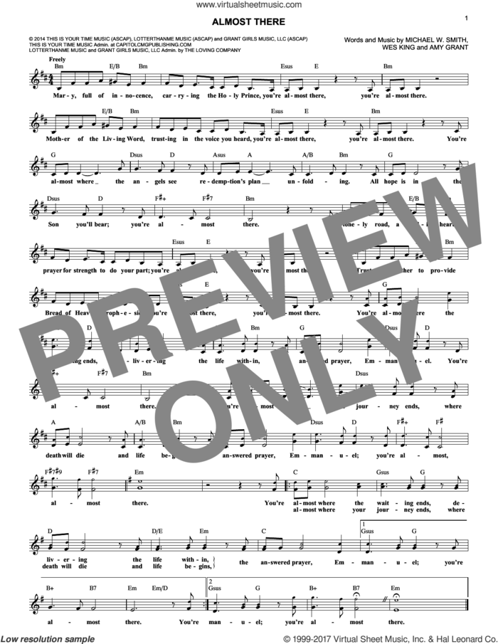 Almost There sheet music for voice and other instruments (fake book) by Wes King, Amy Grant and Michael W. Smith, intermediate skill level