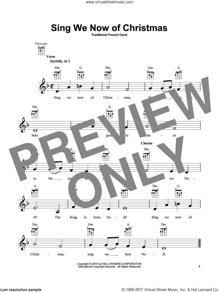 Sing We Now Of Christmas sheet music for ukulele, intermediate skill level