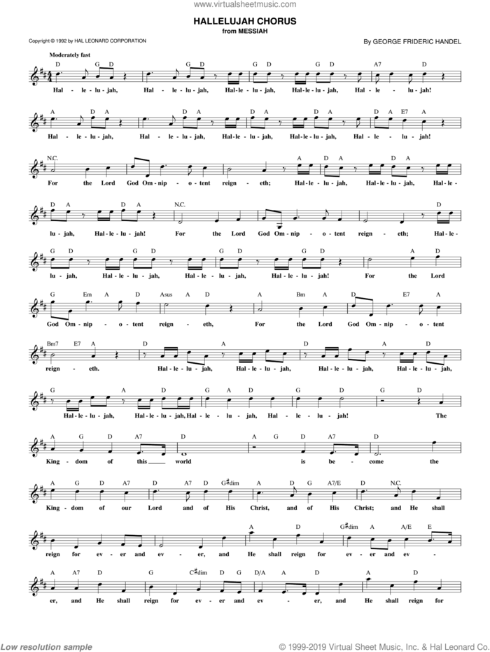 Hallelujah Chorus sheet music for voice and other instruments (fake book) by George Frideric Handel, intermediate skill level