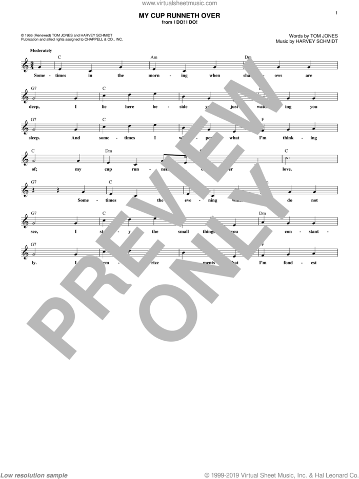 My Cup Runneth Over sheet music for voice and other instruments (fake book) by Ed Ames, Harvey Schmidt and Tom Jones, intermediate skill level