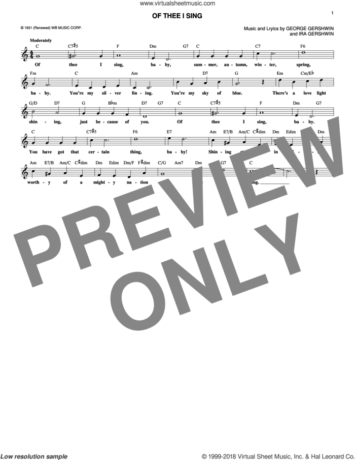 Of Thee I Sing sheet music for voice and other instruments (fake book) by George Gershwin and Ira Gershwin, intermediate skill level