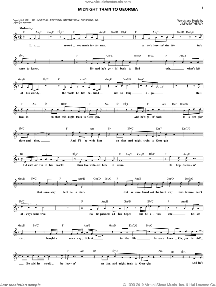Midnight Train To Georgia sheet music for voice and other instruments (fake book) by Gladys Knight & The Pips and Jim Weatherly, intermediate skill level