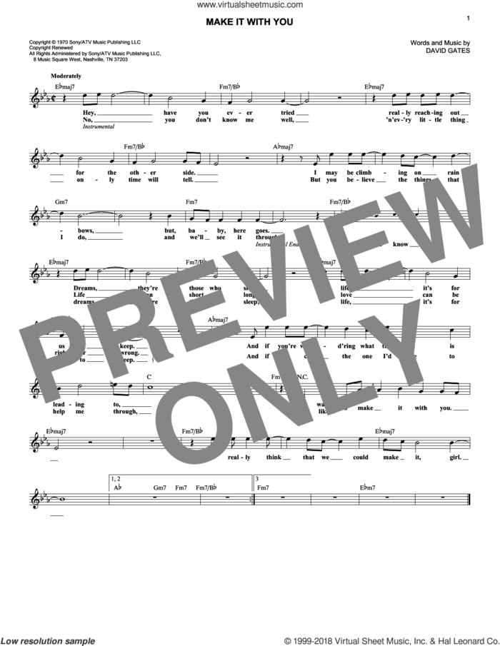 Make It With You sheet music for voice and other instruments (fake book) by Bread and David Gates, intermediate skill level