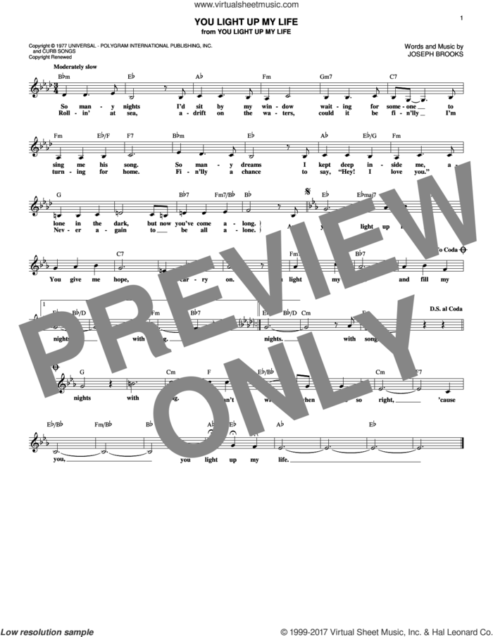 You Light Up My Life sheet music for voice and other instruments (fake book) by Debby Boone and Joseph Brooks, intermediate skill level
