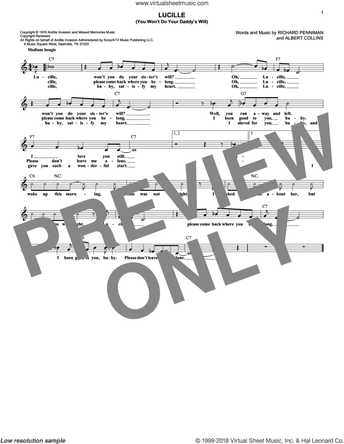 Lucille (You Won't Do Your Daddy's Will) sheet music for voice and other instruments (fake book) by Little Richard, Waylon Jennings, Albert Collins and Richard Penniman, intermediate skill level