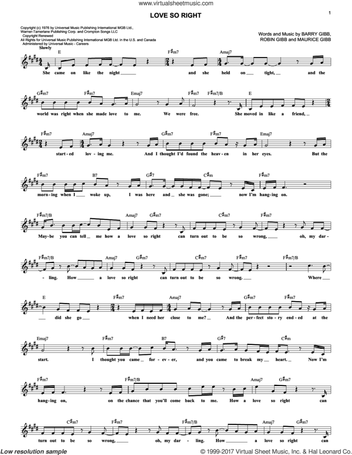 Love So Right sheet music for voice and other instruments (fake book) by Bee Gees, Barry Gibb, Maurice Gibb and Robin Gibb, intermediate skill level