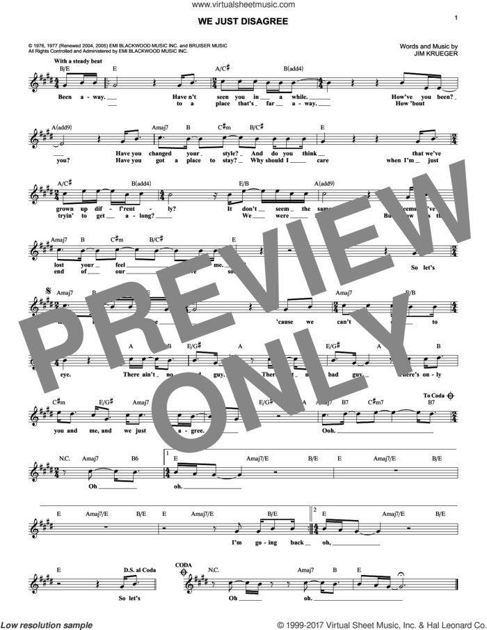 We Just Disagree sheet music for voice and other instruments (fake book) by Jim Krueger, Billy Dean and Dave Mason, intermediate skill level