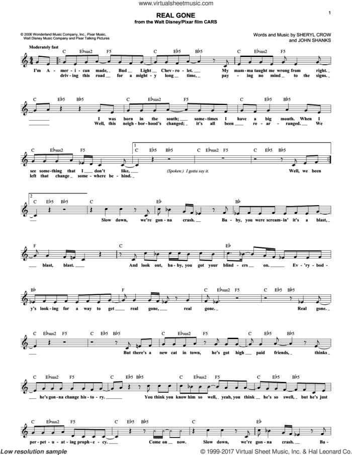 Real Gone (from Cars) sheet music for voice and other instruments (fake book) by Sheryl Crow and John Shanks, intermediate skill level