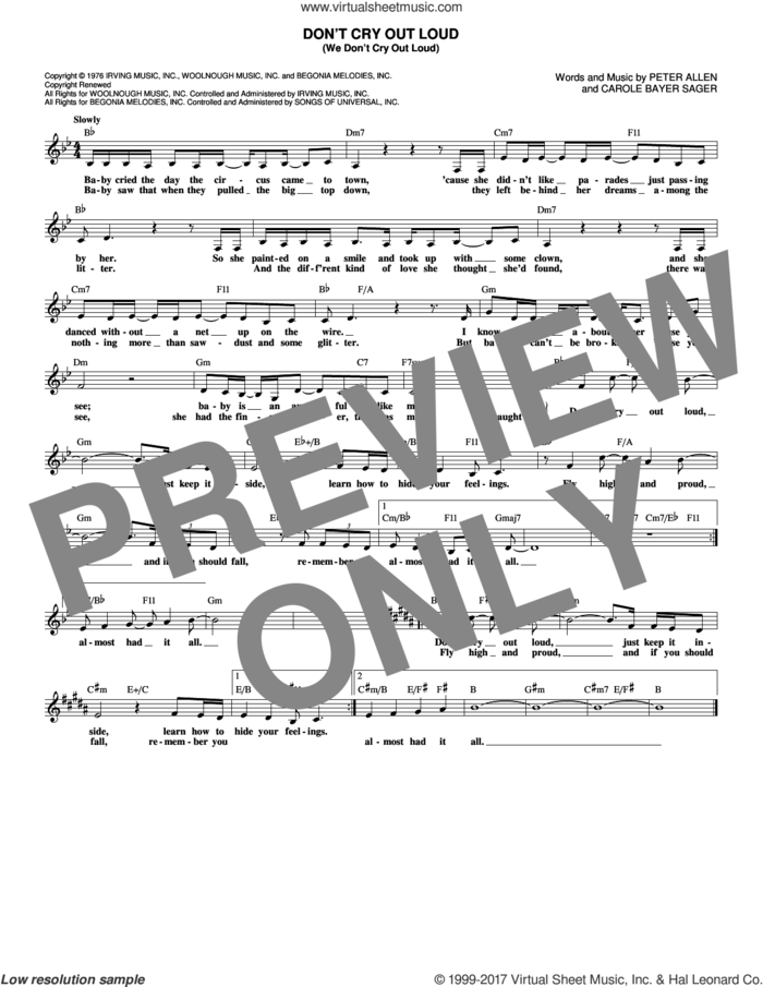 Don't Cry Out Loud (We Don't Cry Out Loud) sheet music for voice and other instruments (fake book) by Melissa Manchester, Carole Bayer Sager and Peter Allen, intermediate skill level