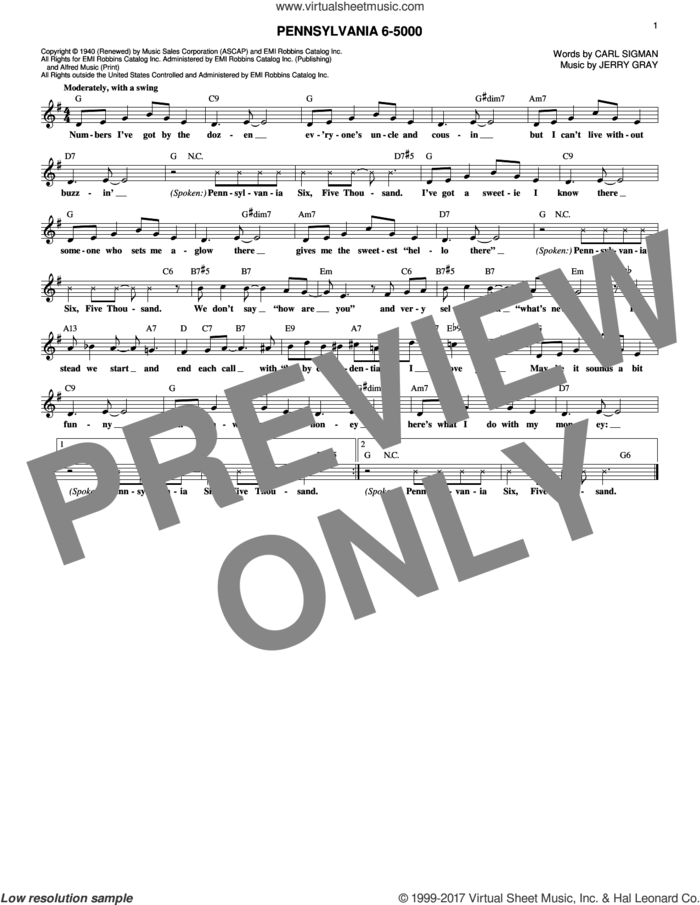 Pennsylvania 6-5000 sheet music for voice and other instruments (fake book) by Jerry Gray and Carl Sigman, intermediate skill level