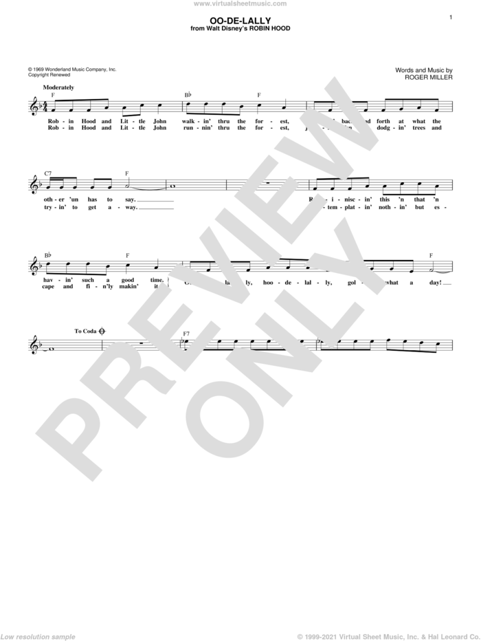 Oo-De-Lally sheet music for voice and other instruments (fake book) by Roger Miller, intermediate skill level