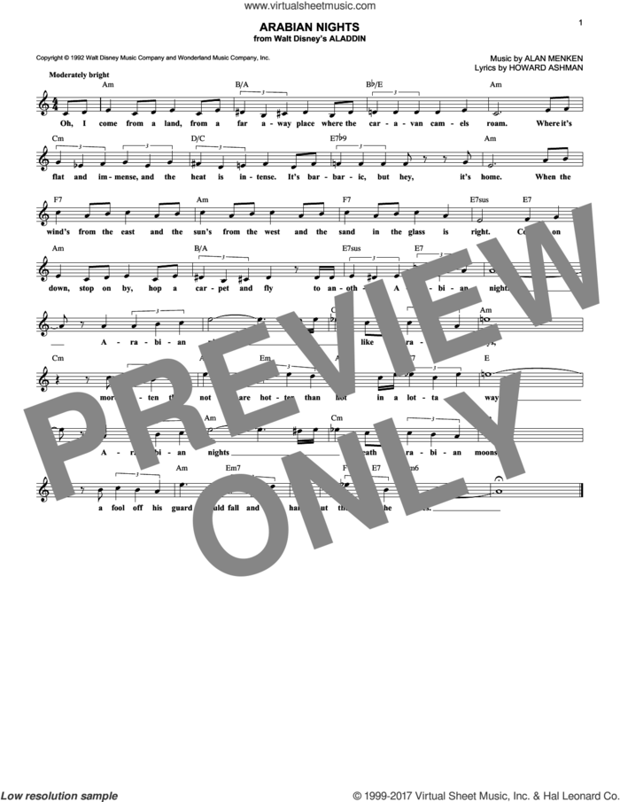 Arabian Nights (from Aladdin) sheet music for voice and other instruments (fake book) by Howard Ashman and Alan Menken, intermediate skill level