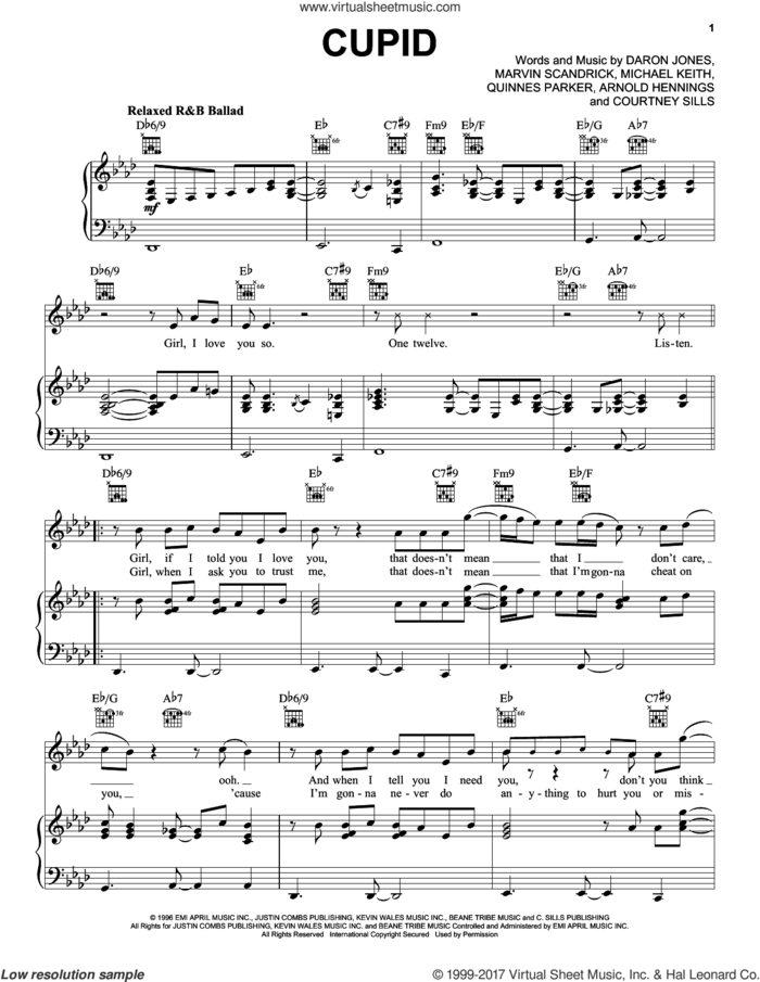 Cupid sheet music for voice, piano or guitar by 112, Arnold Hennings, Courtney Sills, Daron Jones, Marvin Scandrick, Michael Keith and Quinnes Parker, intermediate skill level