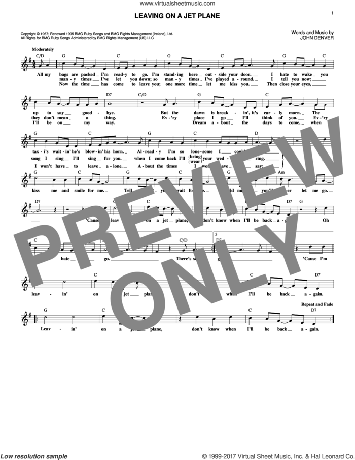Leaving On A Jet Plane sheet music for voice and other instruments (fake book) by John Denver, intermediate skill level