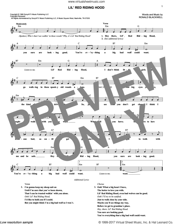 Lil' Red Riding Hood sheet music for voice and other instruments (fake book) by Sam The Sham & The Pharoahs and Ronald Blackwell, intermediate skill level