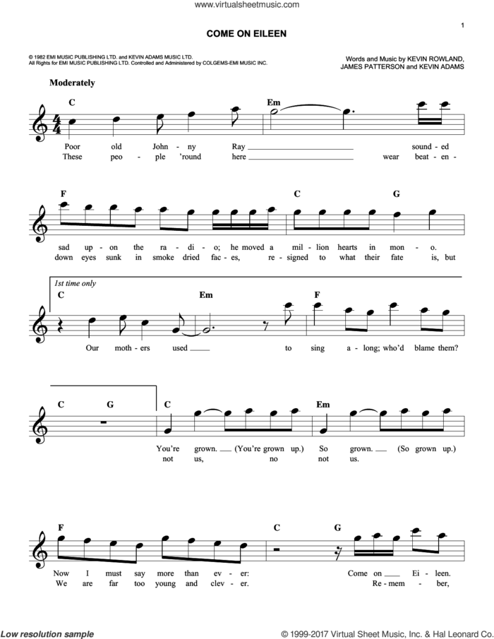 Come On Eileen sheet music for voice and other instruments (fake book) by Dexy's Midnight Runners, James Patterson, Kevin Adams and Kevin Rowland, intermediate skill level