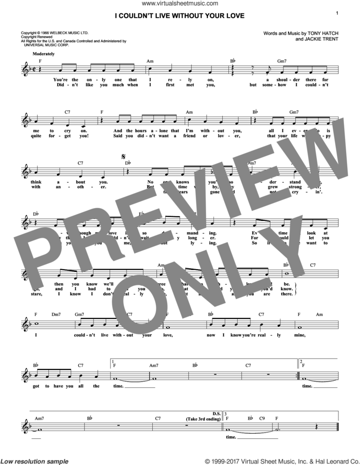 I Couldn't Live Without Your Love sheet music for voice and other instruments (fake book) by Petula Clark, Jackie Trent and Tony Hatch, intermediate skill level