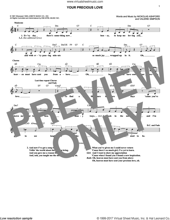 Your Precious Love sheet music for voice and other instruments (fake book) by Marvin Gaye & Tammi Terrell, Nickolas Ashford and Valerie Simpson, intermediate skill level