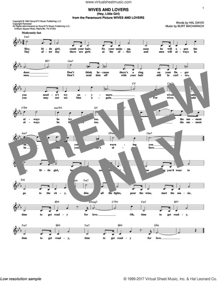 Wives And Lovers (Hey, Little Girl) sheet music for voice and other instruments (fake book) by Burt Bacharach and Hal David, intermediate skill level
