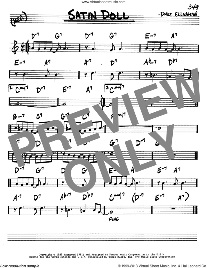 Satin Doll sheet music for voice and other instruments (in C) by Duke Ellington, Billy Strayhorn and Johnny Mercer, intermediate skill level