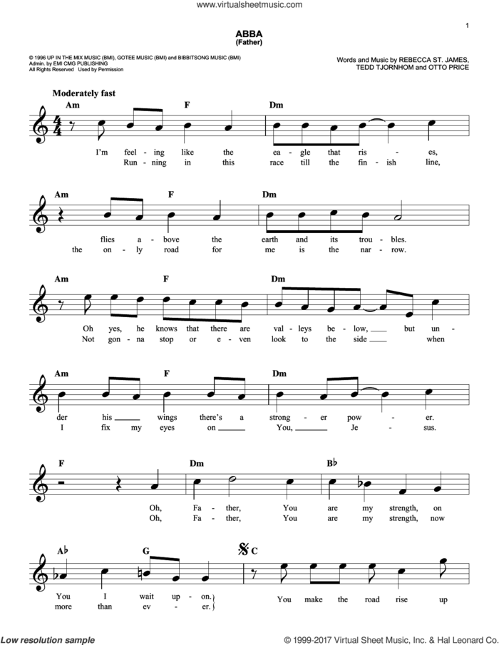 Abba (Father) sheet music for voice and other instruments (fake book) by Rebecca St. James, Otto Price and Tedd Tjornhom, intermediate skill level