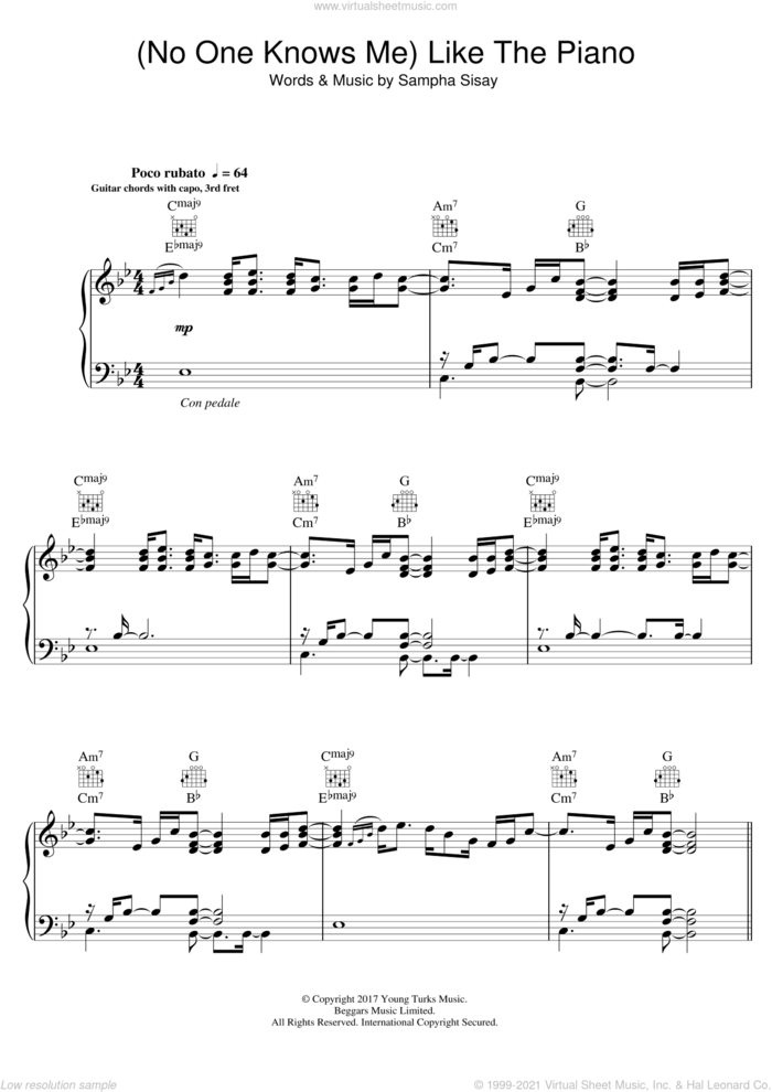 (No One Knows Me) Like The Piano sheet music for voice, piano or guitar by Sampha and Sampha Sisay, intermediate skill level