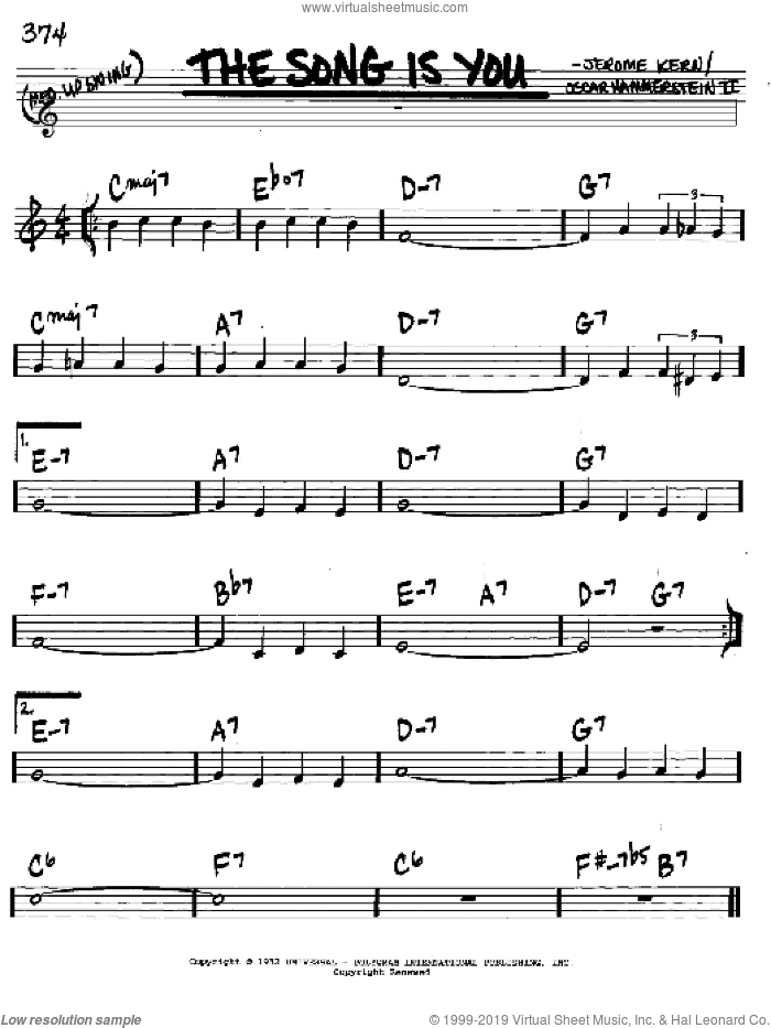 The Song Is You sheet music for voice and other instruments (in C) by Jerome Kern and Oscar II Hammerstein, intermediate skill level